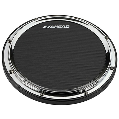 "Ahead AHSHPCH 14"" S-Hoop Marching Snare Drum Practice Pad with Snare Sound, Chrome (AHSHPCH)"