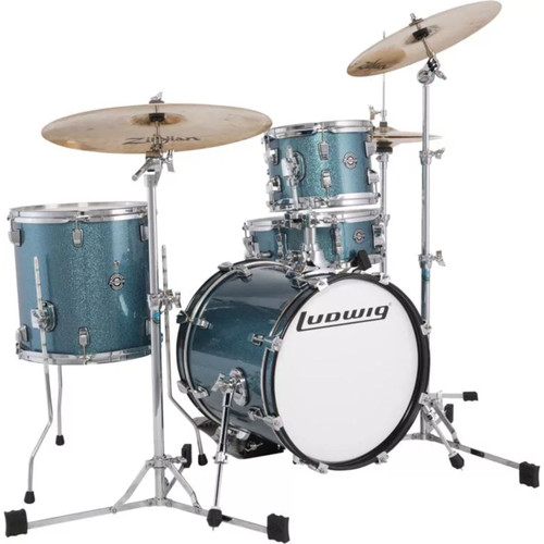 Ludwig LC179XX023 Breakbeats by Questlove 4-Piece Drum Shell Pack, Azure Sparkle