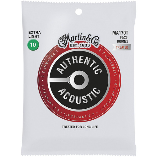 Martin MA170T Acoustic Lifespan 2.0 Acoustic Guitar Strings, 80/20 Bronze, Extra Light 10-47 (MA170T)