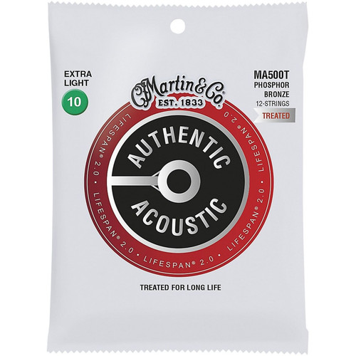 Martin MA500T Acoustic Lifespan 2.0 Phosphor Bronze 12-String Acoustic Guitar Strings, Extra Light (MA500T)