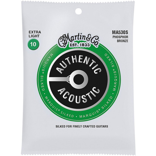 Martin MA530S Authentic Acoustic Marquis Silked Phosphor Bronze Acoustic Guitar Strings, Extra Light 10-47 (MA530S)