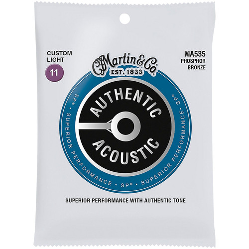Martin MA535S Authentic Acoustic Marquis Silked Phosphor Bronze Acoustic Guitar Strings, Custom Light 11-52