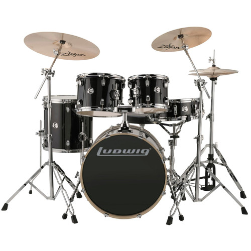 Ludwig LCEE20016 Element Evolution 5-Piece Drum Set w/ Zildjian Cymbals, Black Sparkle (LCEE20016)