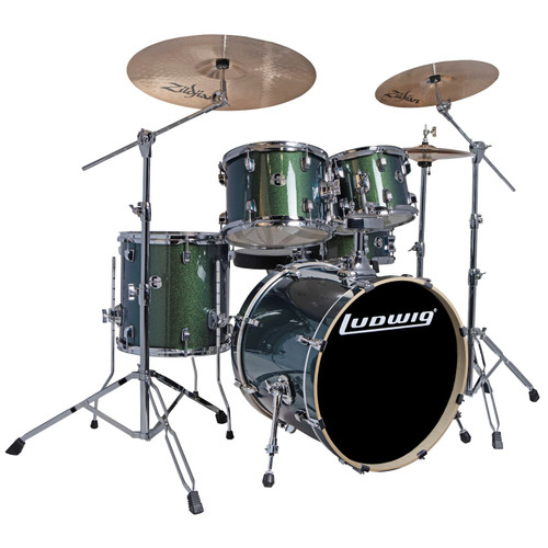 Ludwig LCEE20018I Element Evolution 5-Piece Drum Set w/ Zildjian I Cymbals, Emerald Sparkle (LCEE20018I)
