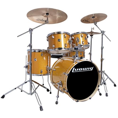 Ludwig LCEE20021I Element Evolution 5-Piece Drum Set w/ Zildjian I Cymbals, Gold Sparkle (LCEE20021I)