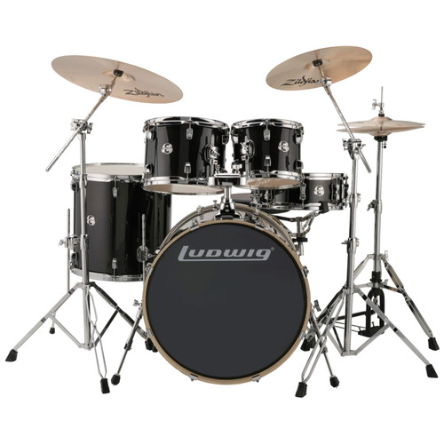 Ludwig LCEE22016I Element Evolution 5-Piece Drum Set w/ Zildjian I Cymbals, Black Sparkle (LCEE22016I)