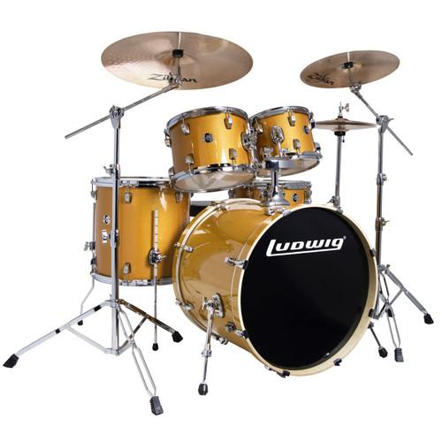 Ludwig LCEE22021I Element Evolution 5-Piece Drum Set w/ Zildjian I Cymbals, Gold Sparkle (LCEE22021I)