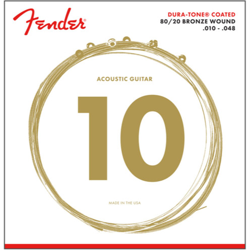 Fender 880XL Dura-Tone Coated 80/20 Acoustic Guitar Strings, Extra Light 10-48 (073-0880-002)