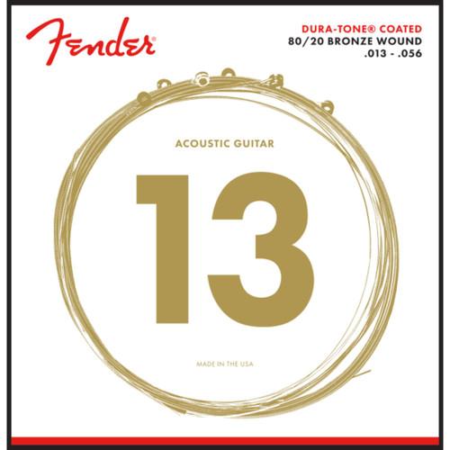 Fender 880M Dura-Tone Coated 80/20 Acoustic Guitar Strings, Medium 13-56 (073-0880-008)