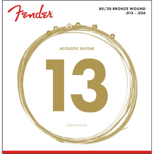 Fender 70M 80/20 Bronze Ball End Acoustic Guitar Strings, Medium 13-56 (073-0070-408)