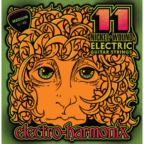 Electro-Harmonix NIC11 Nickel Wound Electric Guitar Strings, Medium 11-48 (NIC11)