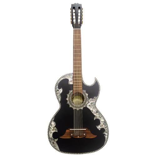 Paracho Elite NOVELLA 10-String Thin Body Bajo Quinto Acoustic Guitar, Satin Ebony (NOVELLA)