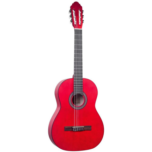 Lucida LG-400 Student Classical Nylon String Acoustic Guitar, Red (LG-400-RD)