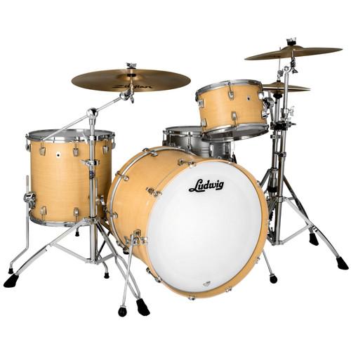"""Ludwig L26223TX3Q NeuSonic 3-Piece Drum Shell Pack, 22"""" Bass Drum, Sugar Maple (L26223TX3Q)"""