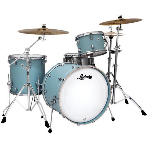"Ludwig L26223TX3R NeuSonic 3-Piece Drum Shell Pack, 22"" Bass Drum, Skyline Blue (L26223TX3R)"