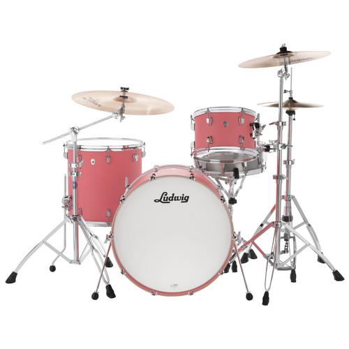 "Ludwig L26223TX3U NeuSonic 3-Piece Drum Shell Pack, 22"" Bass Drum, Coral Red (L26223TX3U)"