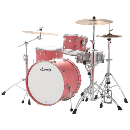"Ludwig L24023TX3U NeuSonic 3-Piece Drum Shell Pack, 20"" Bass Drum, Coral Red (L24023TX3U)"