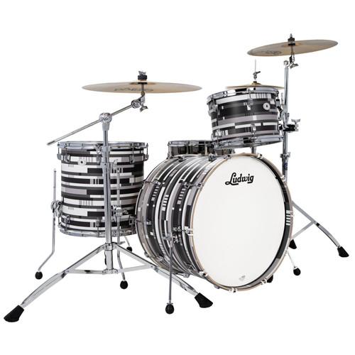 "Ludwig NeuSonic Fab Special Edition 3-Piece Drum Shell Pack, 22"" Bass Drum, Digital Black Oyster (L24233TXDB)"