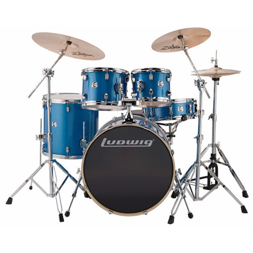 Ludwig LCEE22023I Element Evolution 5-Piece Drum Set w/ Zildjian I Cymbals, Blue Sparkle (LCEE22023I)