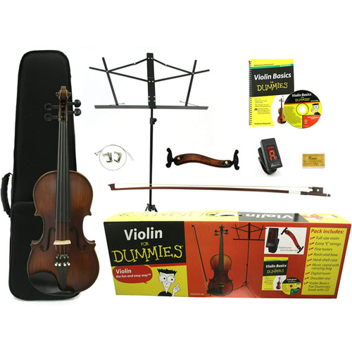 Kona FDV-100 Violin for Dummies Starter Pack with Hardshell Case