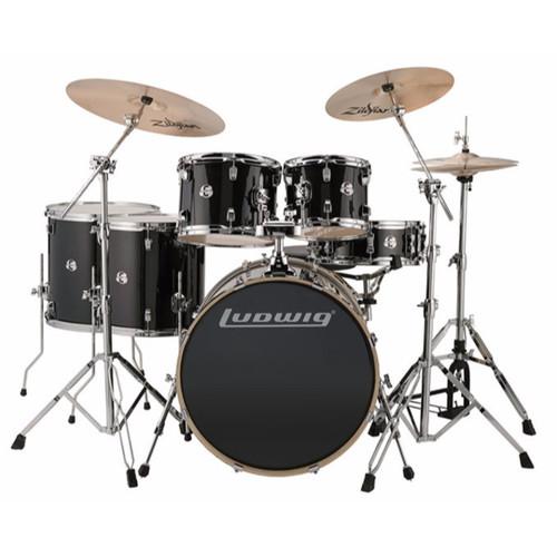 Ludwig LCEE622016I Element Evolution 6-Piece Drum Set w/ Zildjian I Cymbals, Black Sparkle (LCEE622016I)