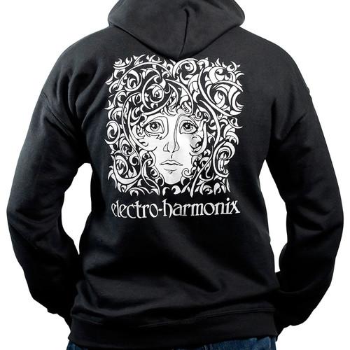 EHX Electro-Harmonix Flashback Logo Sweatshirt Hoodie, Black, Size Large (EHX-HOODIE-B-L)