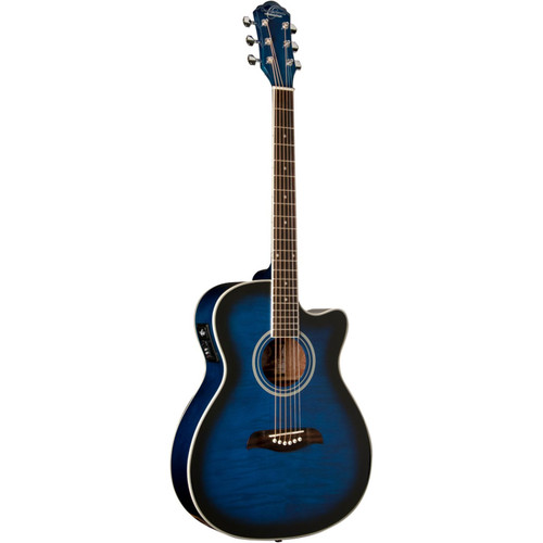 Oscar Schmidt OACEFTBL Auditorium Cutaway Acoustic Electric Guitar, Flame Trans Blue (OACEFTBL)