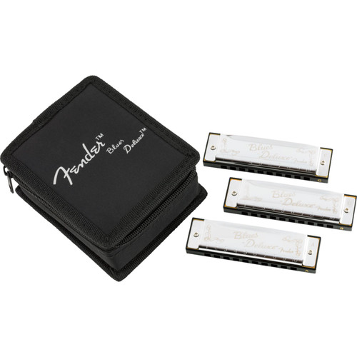 Fender Blues Deluxe 10-Hole Diatonic Harmonica 3-Pack with Case, Key of C, G, A (099-0701-021)