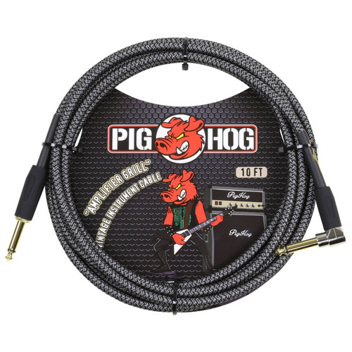 Pig Hog PCH10AGR Amplifier Grill 10 ft. Straight-Angle Woven Instrument Cable, Gray (PCH10AGR)