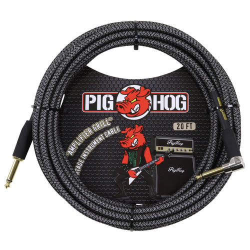 Pig Hog PCH20AGR Amplifier Grill 20 ft. Straight-Angle Woven Instrument Cable, Gray (PCH20AGR)