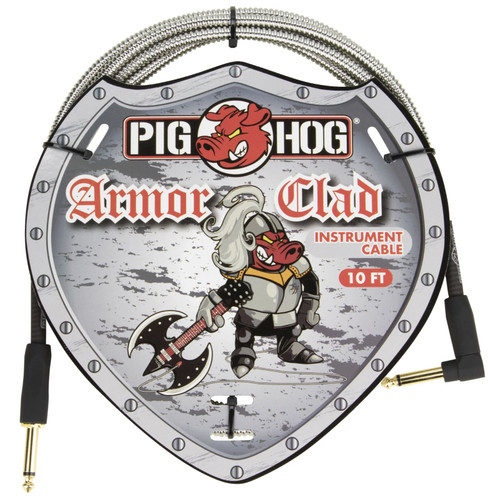 Pig Hog PHAC-10R Armor Clad 10 ft. Straight-Angle Instrument Cable, Stainless Steel (PHAC-10R)