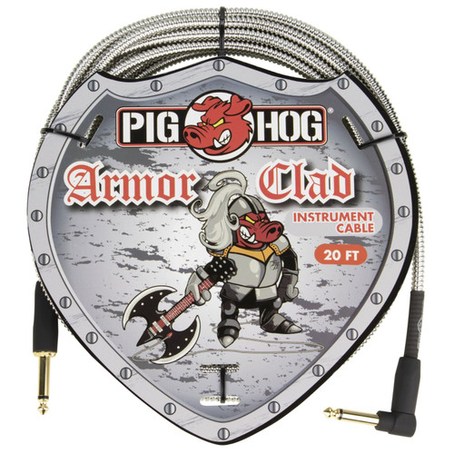 Pig Hog PHAC-20R Armor Clad 20 ft. Straight-Angle Instrument Cable, Stainless Steel (PHAC-20R)