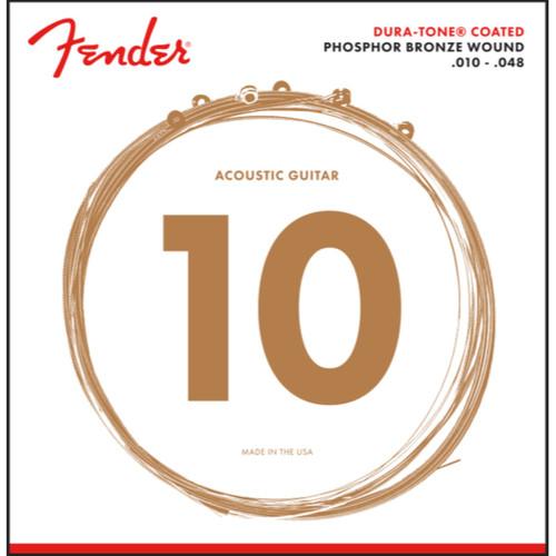 Fender 860XL Dura-Tone Coated Phosphor Bronze Acoustic Guitar Strings, Extra Light 10-48 (073-0860-402)