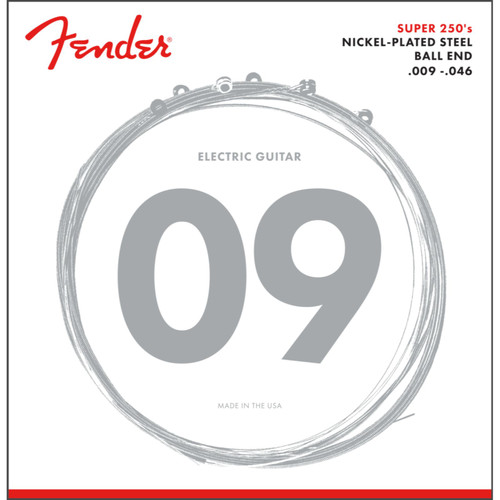 Fender 250LR Super 250's Nickel-Plated Steel Electric Guitar Strings, Light/Regular (073-0250-404)