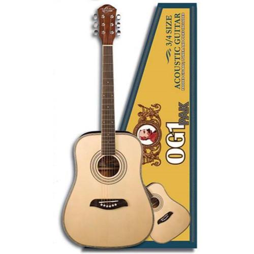 Oscar Schmidt OG1PAK 3/4 Size Dreadnought Acoustic Guitar Pack, Natural (OG1PAK)