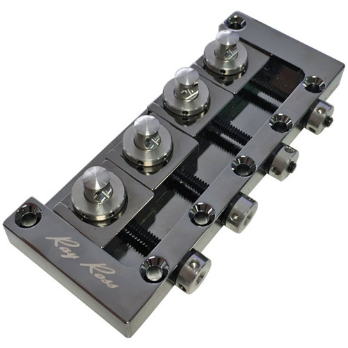 Ray Ross RRB4BN Saddle-Less 4-String Electric Bass Guitar Bridge, Black Nickel (RRB4BN)