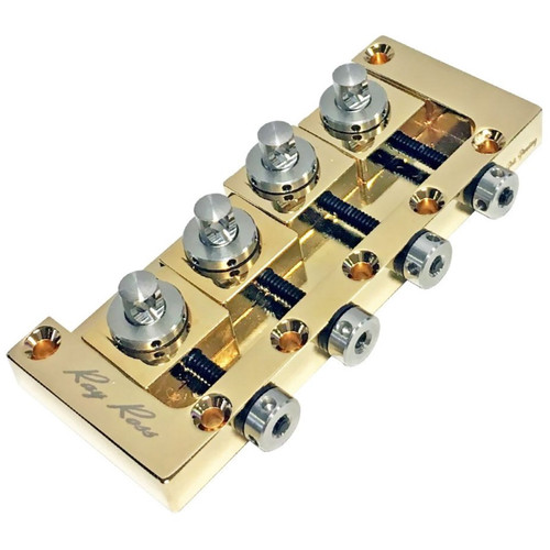 Ray Ross RRB4G Saddle-Less 4-String Electric Bass Guitar Bridge, Gold (RRB4G)