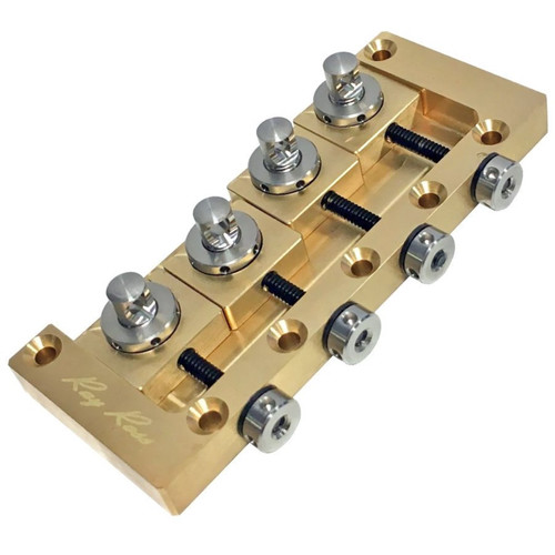 Ray Ross RRB4R Saddle-Less 4-String Electric Bass Guitar Bridge, Brass (RRB4R)