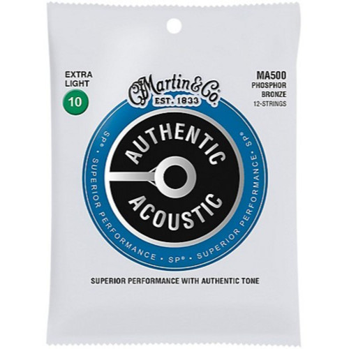 Martin MA500 Acoustic SP Phosphor Bronze 12-String Guitar Strings, Extra Light (MA500)