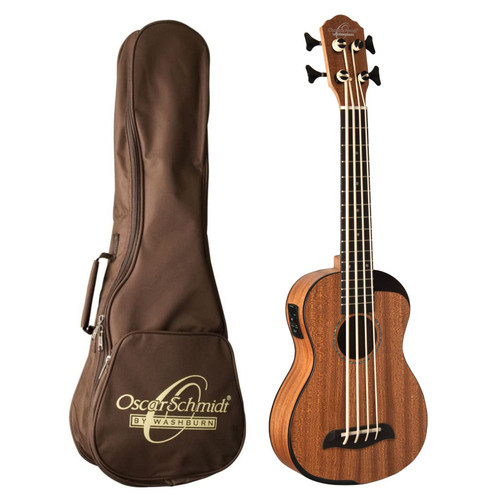 Oscar Schmidt OUB200K Comfort Series Acoustic Electric Bass Ukulele with Gig Bag, Natural (OUB200K)