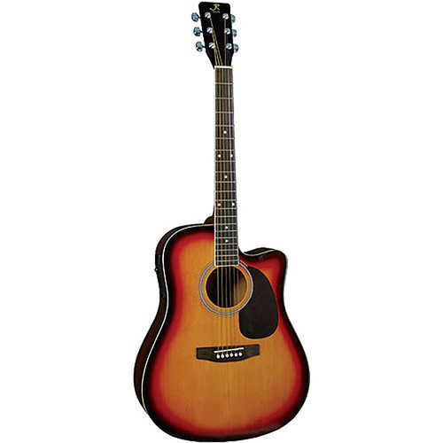 J. Reynolds JR70AESB Dreadnought Cutaway Acoustic Electric Guitar, Sunburst
