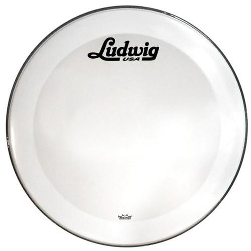 "Ludwig 22"" Powerstroke 3 Smooth White Resonant Bass Drum Head with Script Logo (LW1222P3SWV)"