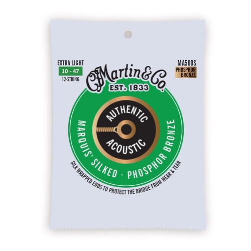 Martin MA500S Authentic Acoustic Marquis Silked Phosphor Bronze 12-String Acoustic Guitar Strings, Extra Light (MA500S)