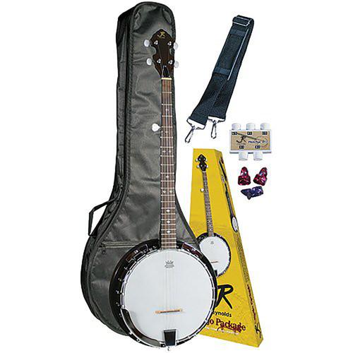 J. Reynolds JRBANPK 5-String Banjo Starter Pack w/Gig Bag, Strap, Pitchpipe, and Picks (JRBANPK)