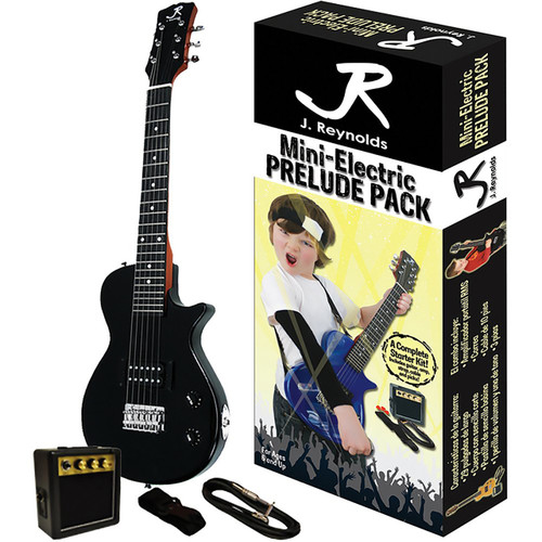 J. Reynolds Kids 1/2 Size Mini Electric Guitar Prelude Package, Jet Black (JRPKLPBK)