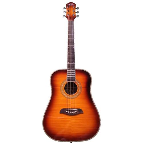 Oscar Schmidt OG1 3/4 Size Acoustic Beginner Guitar, Flame Sunburst