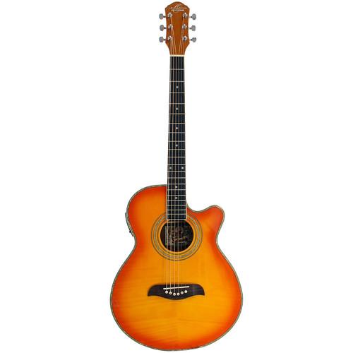 Oscar Schmidt OG10CEFYS Concert Acoustic Electric Guitar, Flame Yellow Sunburst