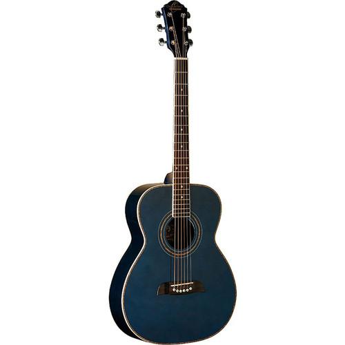 Oscar Schmidt OF2TBL Folk Size Acoustic Guitar, Trans Blue