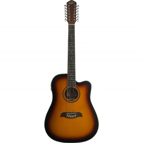 Oscar Schmidt OD312CETS 12-String Dreadnought Cutaway Acoustic Electric Guitar, Tobacco Sunburst (OD312CETS)