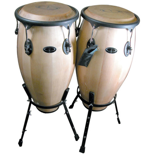 """GP Percussion WDC31S 10"""" and 11"""" Maple Wood Conga Drum Set with Stands, Natural"""